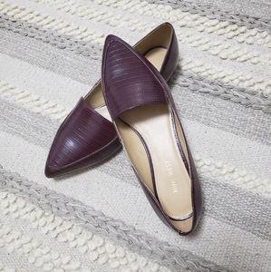 NINE WEST Burgundy Embossed Pointed Toe Flats